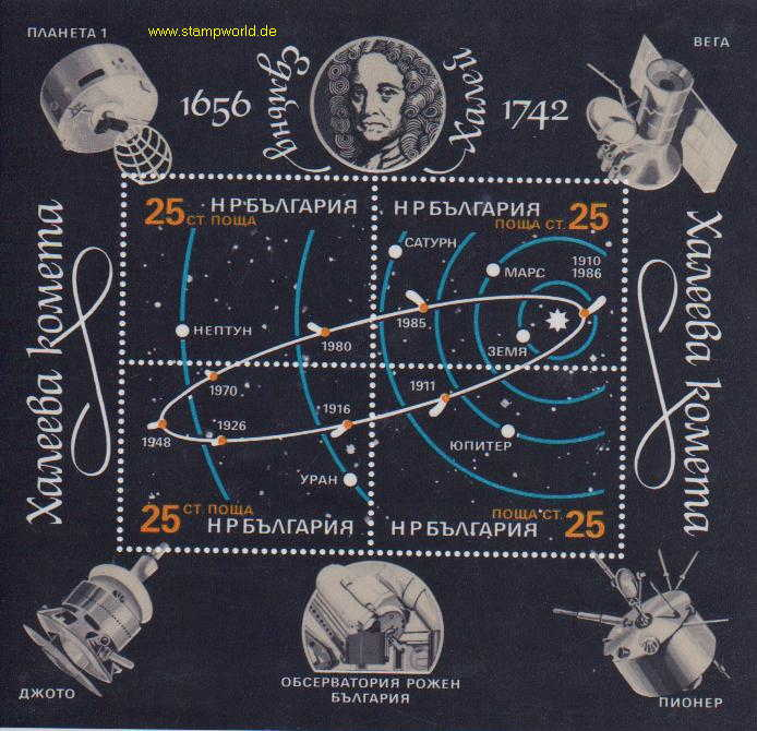 Briefmarken/Stamps Halleyscher Komet/Sonnensystem/Satelliten