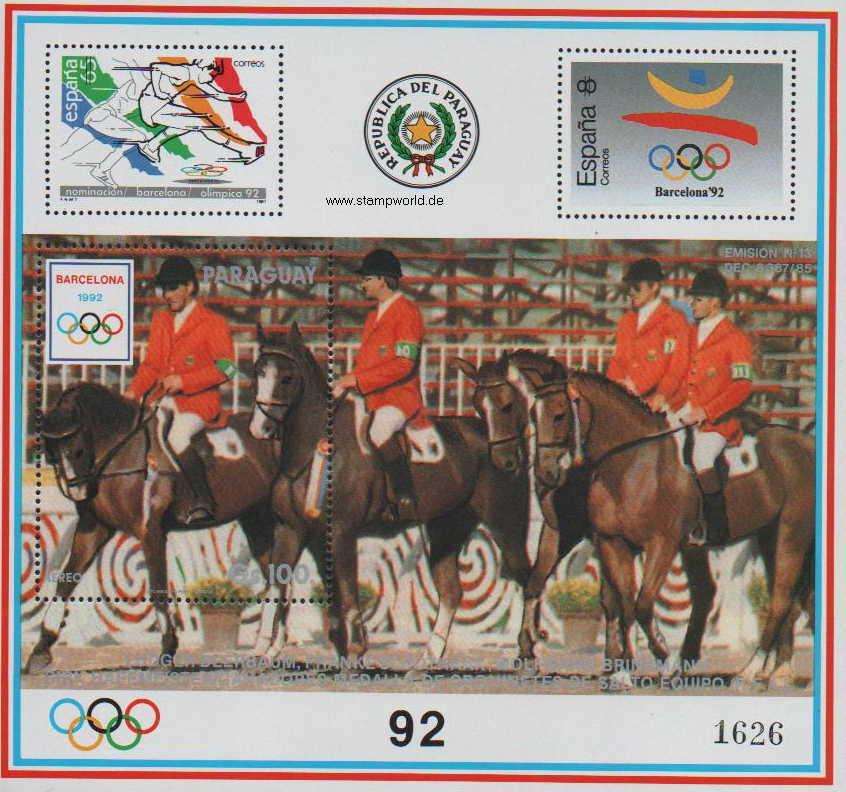 Olympiade/dt. Springreiter/Pferde (Rahmen weiß) - Paraguay ...